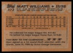 1988 Topps #372  Matt Williams  Back Thumbnail