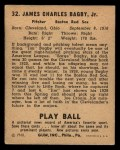 1940 Play Ball #32  Jim Bagby  Back Thumbnail