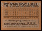1988 Topps #426  Randy Ready  Back Thumbnail