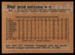 1988 Topps #41  Bob Melvin  Back Thumbnail