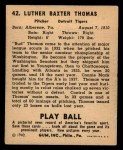1940 Play Ball #42  Bud Thomas  Back Thumbnail