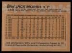 1988 Topps #340  Jack Morris  Back Thumbnail
