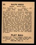 1940 Play Ball #45  Red Kress  Back Thumbnail