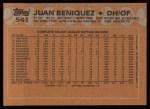 1988 Topps #541  Juan Beniquez  Back Thumbnail