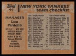 1988 Topps #44  Lou Piniella  Back Thumbnail