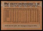 1988 Topps #610  Keith Hernandez  Back Thumbnail