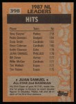1988 Topps #398   -  Juan Samuel All-Star Back Thumbnail