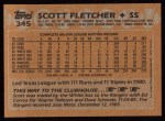 1988 Topps #345  Scott Fletcher  Back Thumbnail
