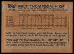 1988 Topps #298  Milt Thompson  Back Thumbnail