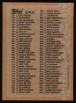 1988 Topps #646   Checklist 529 - 660 Back Thumbnail