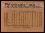 1988 Topps #542  Paul Noce  Back Thumbnail