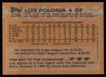 1988 Topps #238  Luis Polonia  Back Thumbnail