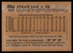 1988 Topps #305  Steve Sax  Back Thumbnail