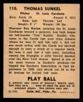 1940 Play Ball #110  Tom Sunkel  Back Thumbnail