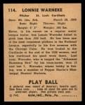 1940 Play Ball #114  Lonnie Warneke  Back Thumbnail