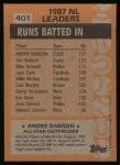 1988 Topps #401   -  Andre Dawson All-Star Back Thumbnail