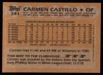 1988 Topps #341  Carmen Castillo  Back Thumbnail