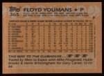 1988 Topps #365  Floyd Youmans  Back Thumbnail