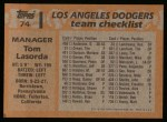 1988 Topps #74  Tommy Lasorda  Back Thumbnail