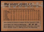 1988 Topps #168  Barry Jones  Back Thumbnail