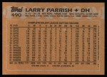1988 Topps #490  Larry Parrish  Back Thumbnail