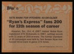 1988 Topps #6   -  Nolan Ryan Record Breaker Back Thumbnail