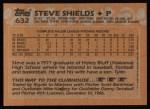 1988 Topps #632  Steve Shields  Back Thumbnail