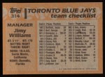 1988 Topps #314  Jimy Williams  Back Thumbnail