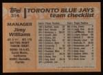 1988 Topps #314  Jimy Williams  Back Thumbnail