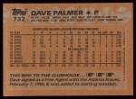 1988 Topps #732  David Palmer  Back Thumbnail