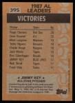 1988 Topps #395   -  Jimmy Key All-Star Back Thumbnail