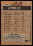 1988 Topps #395   -  Jimmy Key All-Star Back Thumbnail