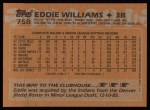 1988 Topps #758  Eddie Williams  Back Thumbnail