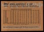 1988 Topps #443  Ken Griffey  Back Thumbnail