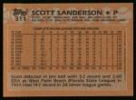 1988 Topps #311  Scott Sanderson  Back Thumbnail