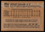 1988 Topps #583  Dave Valle  Back Thumbnail