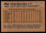 1988 Topps #442  Tom Bolton  Back Thumbnail