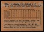 1988 Topps #455  Shawn Hillegas  Back Thumbnail
