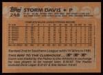 1988 Topps #248  Storm Davis  Back Thumbnail