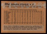 1988 Topps #193  Brian Fisher  Back Thumbnail