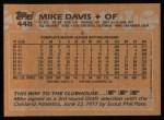 1988 Topps #448  Mike Davis  Back Thumbnail