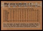 1988 Topps #144  Don Gordon  Back Thumbnail