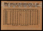 1988 Topps #210  Willie Randolph  Back Thumbnail