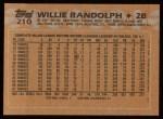 1988 Topps #210  Willie Randolph  Back Thumbnail