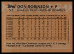 1988 Topps #52  Don Robinson  Back Thumbnail