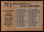 1988 Topps #344  Tony La Russa  Back Thumbnail
