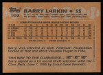 1988 Topps #102  Barry Larkin  Back Thumbnail
