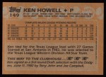 1988 Topps #149  Ken Howell  Back Thumbnail