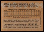 1988 Topps #450  Barry Bonds  Back Thumbnail