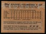1988 Topps #186  Rafael Palmeiro  Back Thumbnail